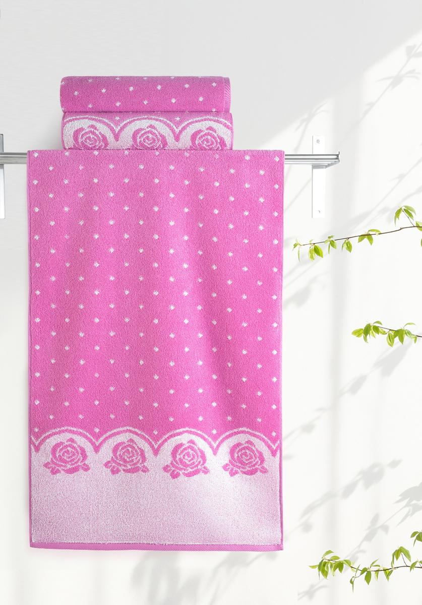 Полотенце банное Aquarelle Розы 2, цвет: розовый, орхидея, 50 х 90 см. 710654710654Полотенце банное AQUARELLE, размер 50х90см, серия-Розы 2, розовый, орхидея