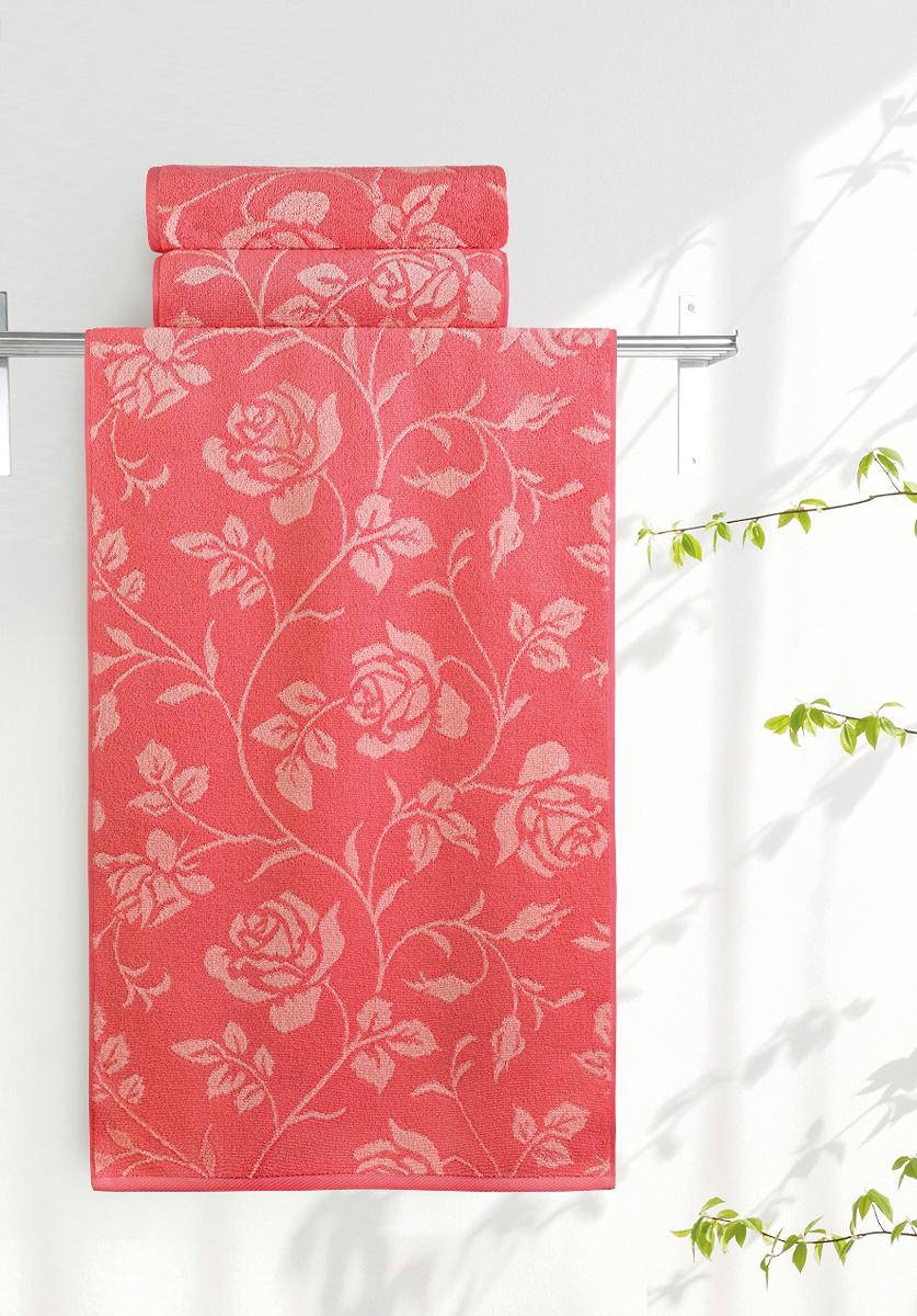 Полотенце банное Aquarelle Розы 2, цвет: розово-персиковый, коралловый, 70 х 140 см. 710655710655Полотенце банное AQUARELLE, размер 70х140см, серия-Розы 2, розово-персиковый, коралл