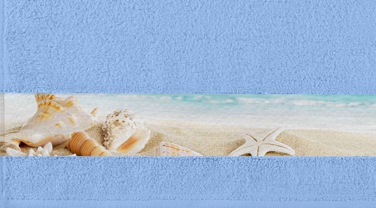 Полотенце банное Aquarelle Фотобордюр. Ракушки 1, цвет: васильковый, 70 х 140 см. 712580712580Полотенце банное AQUARELLE, размер 70х140см, серия-Фотобордюр ракушки 1, васильковый