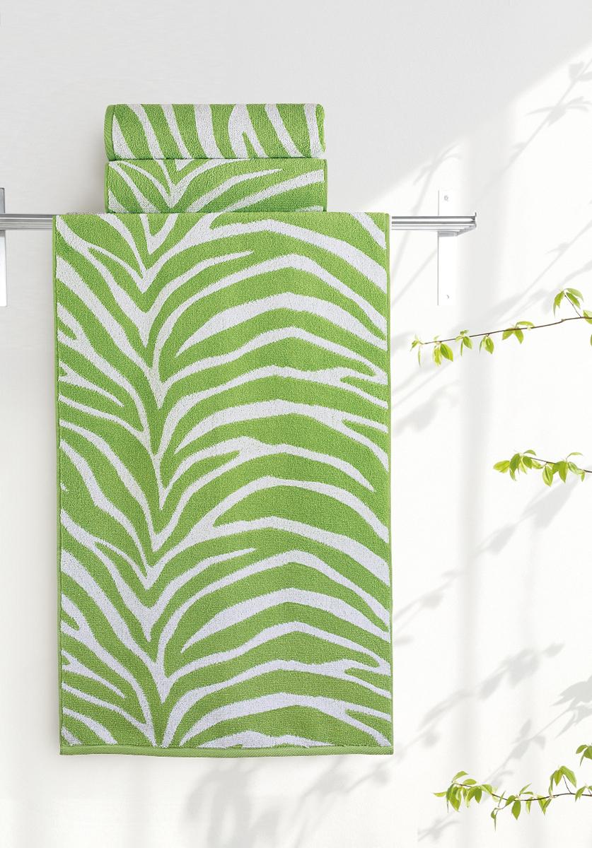Полотенце банное Aquarelle Мадагаскар. Зебра, цвет: белый, травяной, 50 х 90 см. 713167713167Полотенце банное AQUARELLE, размер 50х90см, серия-Мадагаскар зебра, белый, травяной
