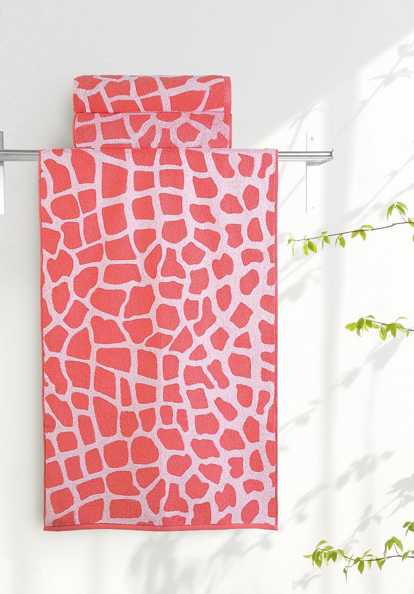 Полотенце банное Aquarelle Мадагаскар. Жираф, цвет: белый, коралловый, 70 х 140 см. 713177713177Полотенце банное AQUARELLE, размер 70х140см, серия-Мадагаскар жираф, белый, коралловый