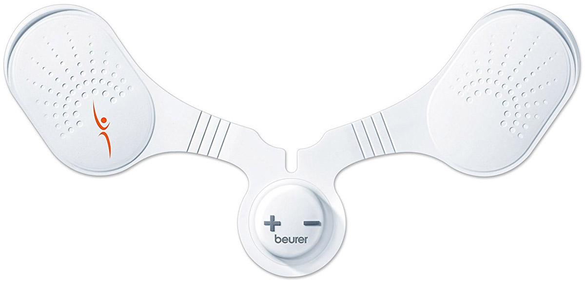 Beurer Тренажер EM204049Тренажер-миостимулятор Beurer EM20 – это небольшая гибкая накладка, которая фиксируется на коже в области плеч или шеи. Посылая ритмичные импульсы, прибор заставляет мускулатуру сокращаться. Это тренировка, которая позволяет всегда быть в тонусе. Подобные процедуры имеют, в конечном счете, большой положительный эффект. Пользователь может тренировать отдельные группы мышц, не создавая при этом нагрузки на суставы и связки.Прикладывая минимум усилий, вы получаете максимальный эффект. Миостимулятор можно использовать не только дома, но и в дороге. Когда шея начинает ныть от длительного сидения в неудобном положении, например, у окна поезда, достаточно отогнуть ворот рубашки, чтобы приложить к коже тренажер, и получить сеанс бодрящего массажа. Несколько уровней интенсивности позволяют подобрать наиболее комфортный режим.Съемная батарейкаАвтоматическое отключениеРежимы интенсивности: 15Используется для массажа в области затылка, спины, шеи и плеч.Возможность регулировки интенсивности массажа.Благодаря малым размерам и весу его можно брать с собой.
