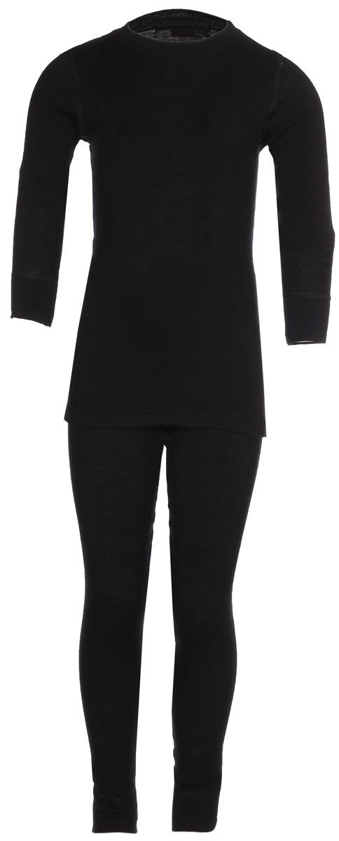 Комплект термобелья детский Dr. Wool: лонгслив, брюки, цвет: черный. DWKL 30102. Размер 82/88DWKL 30102Комплект термобелья Dr. Wool, состоящий из лонгслива и брюк незаменим в холодную погоду. Для еще большего комфорта резинка, манжеты и швы сделаны мягкими, поэтому не вызывают раздражения кожи. Изделие облегает, поэтому его можно носить в качестве первого слоя. Переохлаждение и перегрев вас не побеспокоят благодаря воздушной структуре волокна. Среди качеств волокон полотна отмечается гигроскопичность.