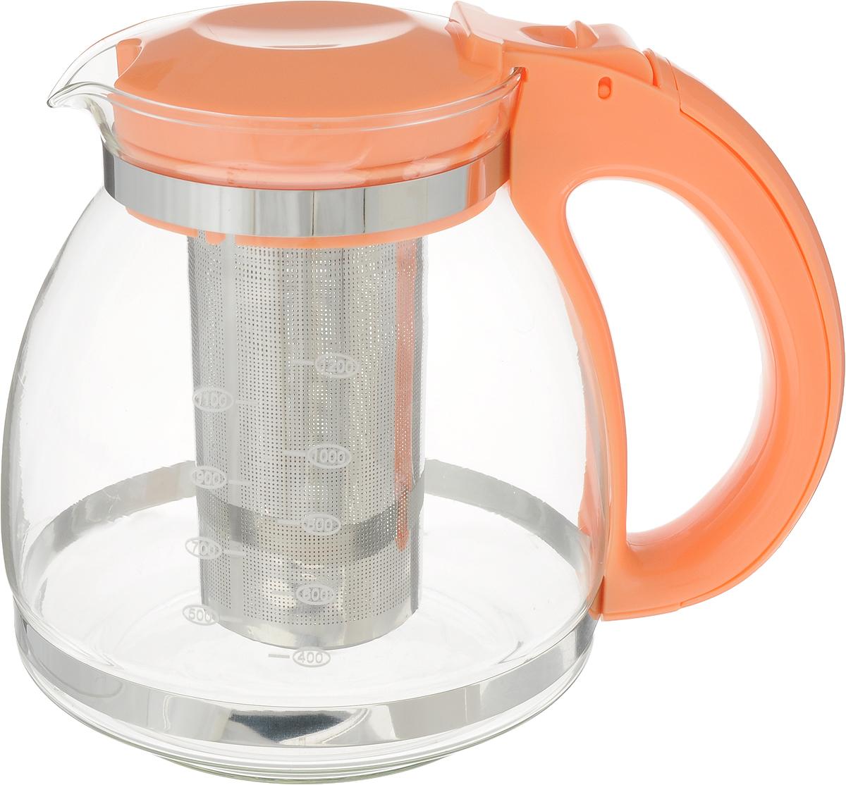 Чайник KATRINA, с фильтром металлическим, цвет: оранжевый, 1,5 лATG115_оранжевыйЗаварочный чайник KATRINA изготовлен из высококачественного термостойкого стекла. Чайник дополнен фильтром, который задерживает чаинки и предотвращает их попадание в чашку. Модель снабжена удобной пластиковой ручкой и откидывающейся крышкой. Чай в стеклянном чайнике долго остается горячим, а полезные и ароматические вещества полностью сохраняются в напитке.Не использовать в посудомоечной машине.