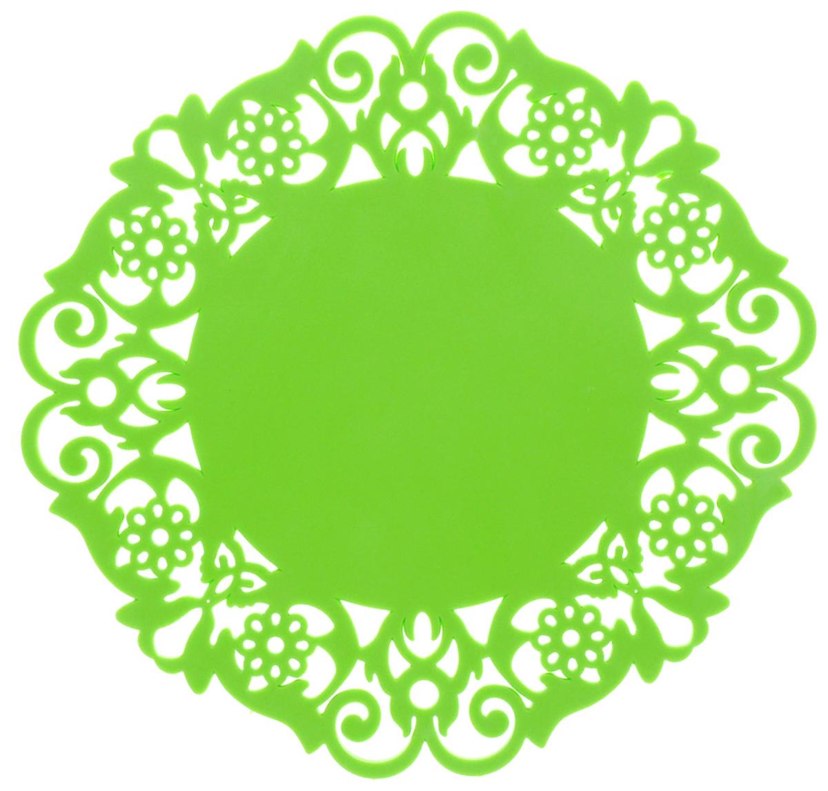 Подставка под горячее Доляна Чаепитие, цвет: салатовый, диаметр 16 см812070Силиконовая подставка под горячее - практичный предмет, который обязательно пригодится в хозяйстве. Изделие поможет сберечь столы, тумбы, скатерти и клеёнки от повреждения нагретыми сковородами, кастрюлями, чайниками и тарелками.