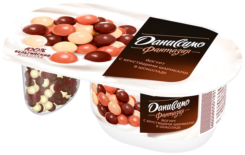 Даниссимо Йогурт густой Фантазия Хрустящие шарики 6,9%, 105 г даниссимо продукт творожный браво шоколад 6 7
