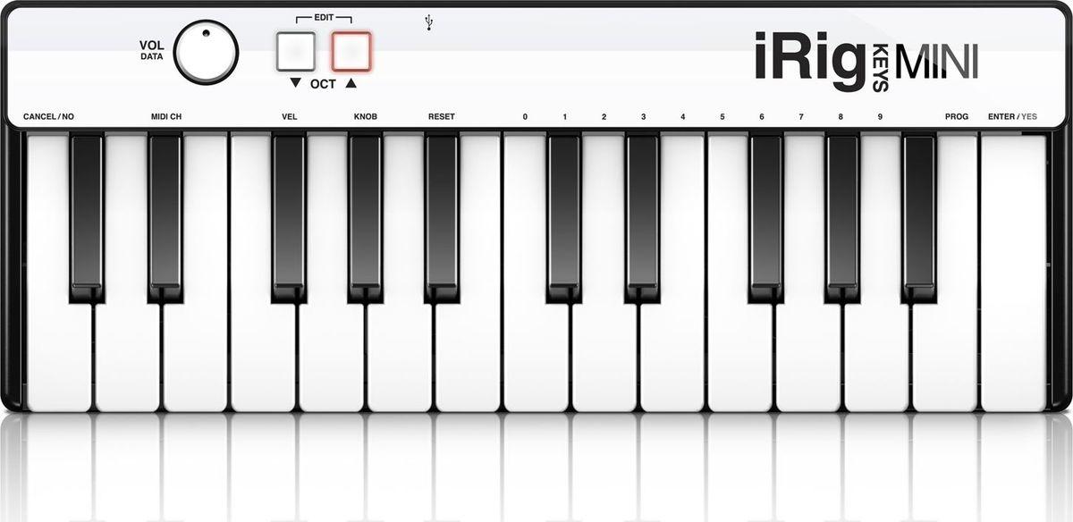 IK Multimedia iRig Keys Mini, Black MIDI-клавиатураIP-IRIG-KEYSMINI-INМузыкальные идеи могут прийти в любое время и в любом месте. Так почему бы не быть готовым к ним, когда они приходят? IK Multimedia iRig Keys Mini – это ультрапортативный 25-клавишный MIDI-контроллер для iPhone, iPad, iPod touch, Android и Mac/ПК. Его 25 чувствительных к скорости нажатия мини-клавиш обеспечивают щедрый диапазон в две октавы (плюс одна клавиша), что делает его достаточно маленьким, чтобы легко уместиться в вашей сумке для ноутбука или рюкзаке и не занять там много места. Теперь у вас есть клавиши, чтобы запечатлеть ваше творчество независимо от того, куда вас ведет ваша мобильная жизнь.iRig Keys Mini невероятно прост в использовании. Он подключается непосредственно к вашему устройству iOS с помощью входящего в комплект поставки разъема Lightning, к вашему устройству Android с помощью кабеля OTG к Micro-USB и к вашему Mac/ПК через прилагаемый кабель USB. Он также может подключаться к более старым устройствам iOS через дополнительный 30-контактный кабель. Вы будете готовы начать прямо из коробки: для запуска драйверов не требуется никаких дополнительных приложений или программного обеспечения. iRig Keys Mini был сделан с мыслью об ультранизком энергопотреблении. Он не требует силового кабеля, потому что он получает питание из подключенного iPhone, iPad или iPod touch или через USB-порт подключенного к нему Mac/ПК.Вы также можете использовать iRig Keys Mini для живой работы и других творческих применений. Он поставляется с полным комплектом мощного программного обеспечения от IK Multimedia, которое поможет вам начать творить или джемить прямо из коробки.И, чтобы помочь вам лучше проявить себя в пути, iRig Keys Mini также оснащен оптимизированным выбором основных элементов управления: вы получаете чувствительность к скорости нажатия, ручку громкости/данных и кнопки со стрелками Octave Up/Down с подсветкой, которые также позволяют вам редактировать основные функции MIDI-контроллера.