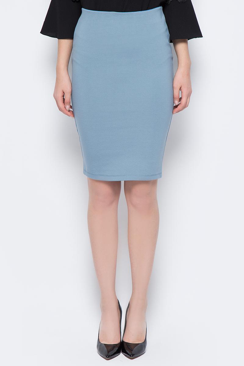 Юбка женская adL, цвет: синий. 12718248067_003. Размер M (44/46)12718248067_003Стильная юбка-карандаш, выполненная из комбинированного материала, отлично дополнит ваш классический стиль. Модель сзади дополнена застежкой-молнией.
