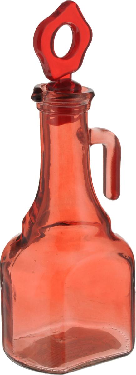"""Емкость для масла """"Herevin"""" выполнена из качественного прочного цветного стекла. Она легка в использовании, стоит только перевернуть ее, и вы с легкостью сможете добавить оливковое или подсолнечное масло, уксус или соус. Емкость оснащена силиконовой пробкой с пластиковой верхушкой. Благодаря этому внутри сохраняется герметичность, и содержимое дольше остается свежим.  Диаметр горлышка: 3,5 см. Размер основания: 7,5 х 6,5 см. Высота емкости: 21 см."""