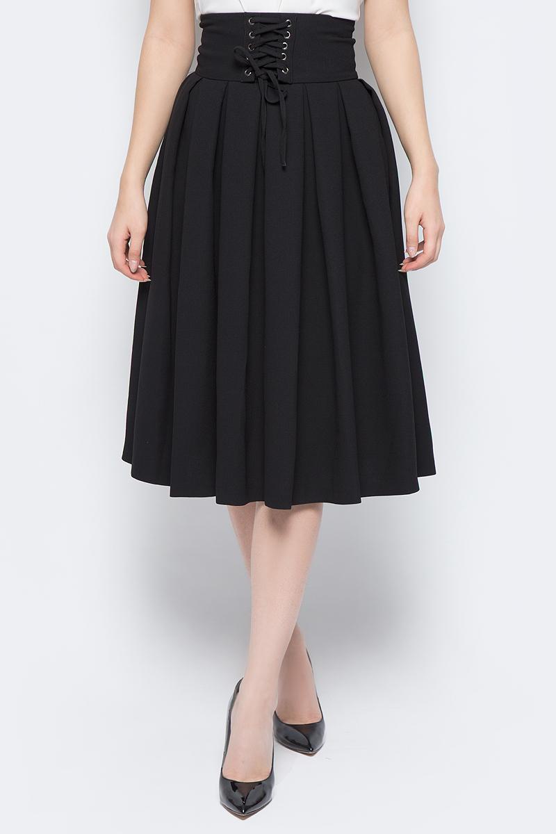 Юбка adL, цвет: черный. 12732139000_001. Размер XS (40/42)12732139000_001Модная юбка-солнце adL выполнена из плотного полиэстера. Модель длины миди с посадкой на талии дополнена широким поясом со шнуровкой. Сзади изделие застегивается на потайную молнию. В такой юбке вы будете выглядеть стильно и элегантно.