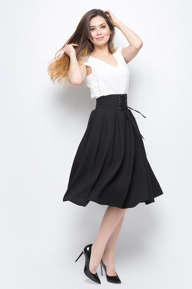 Юбка adL, цвет: черный. 12732139000_001. Размер M (44/46)12732139000_001Модная юбка-солнце adL выполнена из плотного полиэстера. Модель длины миди с посадкой на талии дополнена широким поясом со шнуровкой. Сзади изделие застегивается на потайную молнию. В такой юбке вы будете выглядеть стильно и элегантно.
