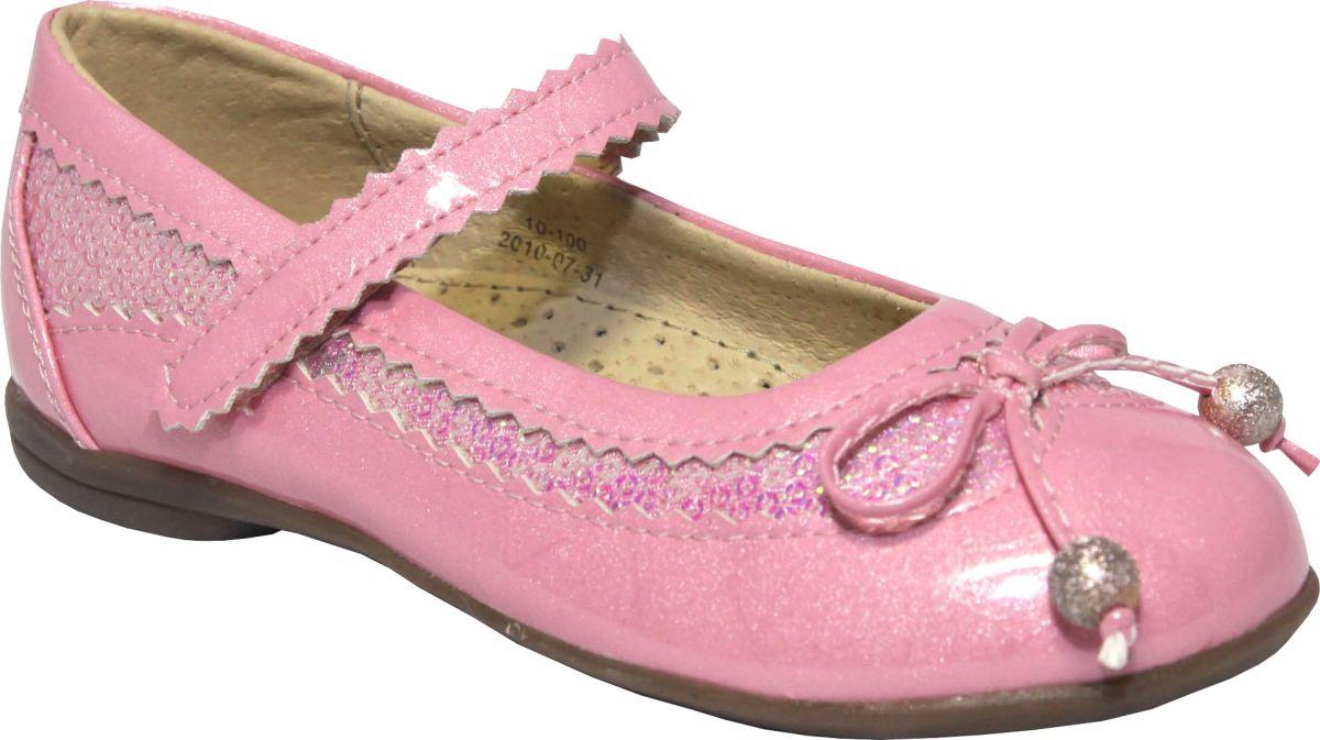 Туфли для девочки Аллигаша, цвет: розовый. 10-100. Размер 3010-100Туфли на сплошной прорезиненной подошве из высококачественного искусственного материала с лаковым покрытым, украшенные пайетками. С подкладом и стелькой из натуральной кожи, с удобным супинатором. Эта модель подойдет как для повседневной носки, так и для торжественных случаев. Идеальное сочетание цены и качества.