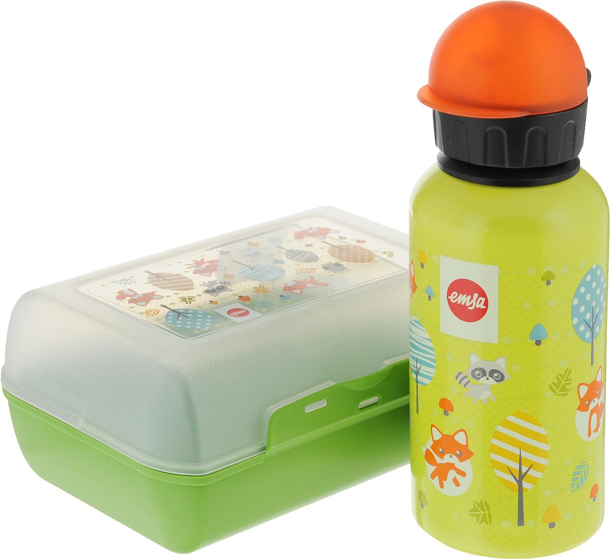 Ланч-бокс Emsa Fox Kids, с фляжкой, цвет: салатовый517226_салатовыйЛанч-бокс и фляжка Emsa Fox Kids выполнены из пищевого пластика. Ланч-бокс для детей позволяет взять даже сложный обед, из нескольких блюд, в одном компактном контейнере, так как имеет разделитель. Контейнер надежно закрывается на клипсу.Фляга изготовлена из алюминия и покрыта специальным составом, который препятствует окислению. В нее можно заливать не только воду, но и соки, чай и другие напитки. Из фляги очень удобно пить, а крышка закрывается абсолютно герметично.