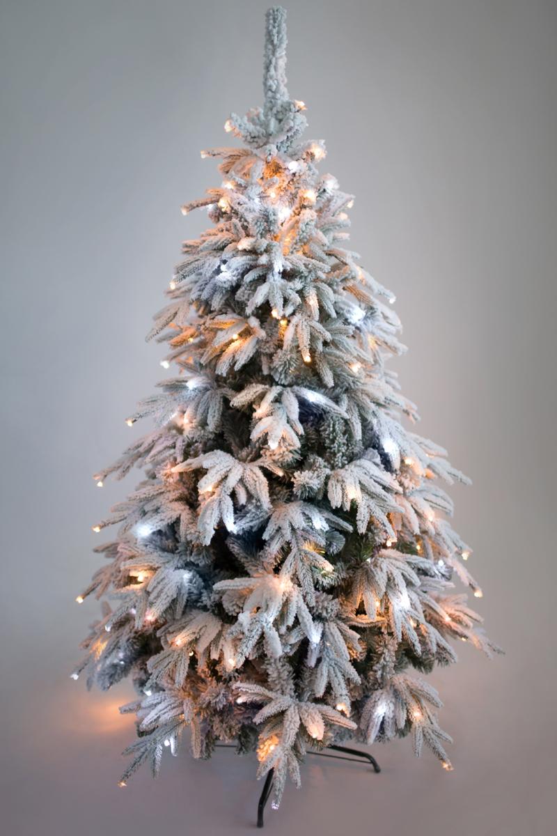 Ель искусственная Crystal Trees Маттерхорн, заснеженная с вплетенной гирляндой 150м.KP3515SLCrystal Trees Искусственная Ель Маттерхорн заснеженная с вплетенной гирляндой - Настоящие произведение искусства. Ветви выполнены из ПВХ пленки и резины зеленого цвета с имитацией снега, которые придают поистине новогоднее настроение. Фиксированный на стволе ветки этой неповторимой красавицы, помогут в быстрой и безошибочной сборке елочки. Металлическая подставка, позволит быть уверенным в устойчивости елки. Качественный материал, и сохранение всех норм производства ели, позволяют гарантировать её использование не менее 12 лет.
