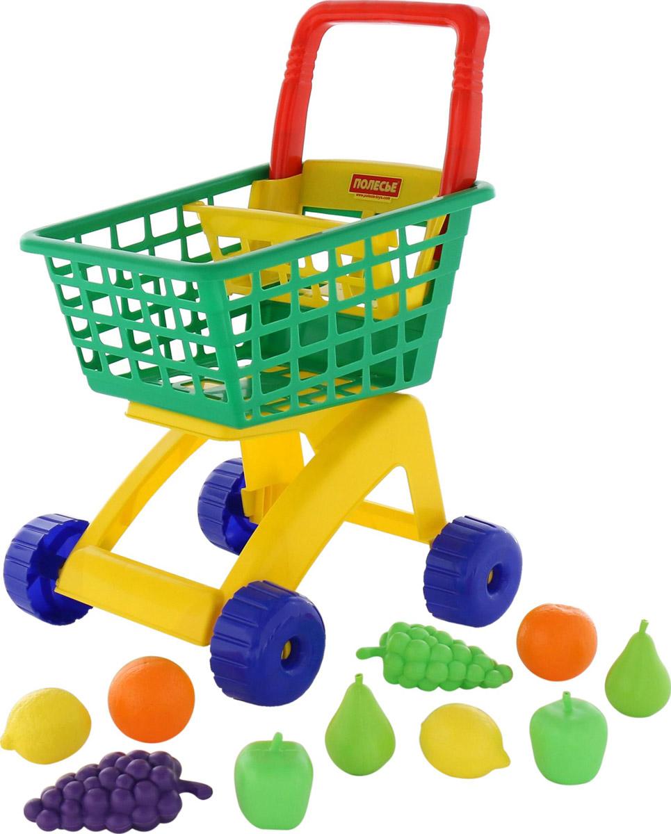 Полесье Игрушечная тележка для магазина  набором продуктов №7 цвет корзины зеленый