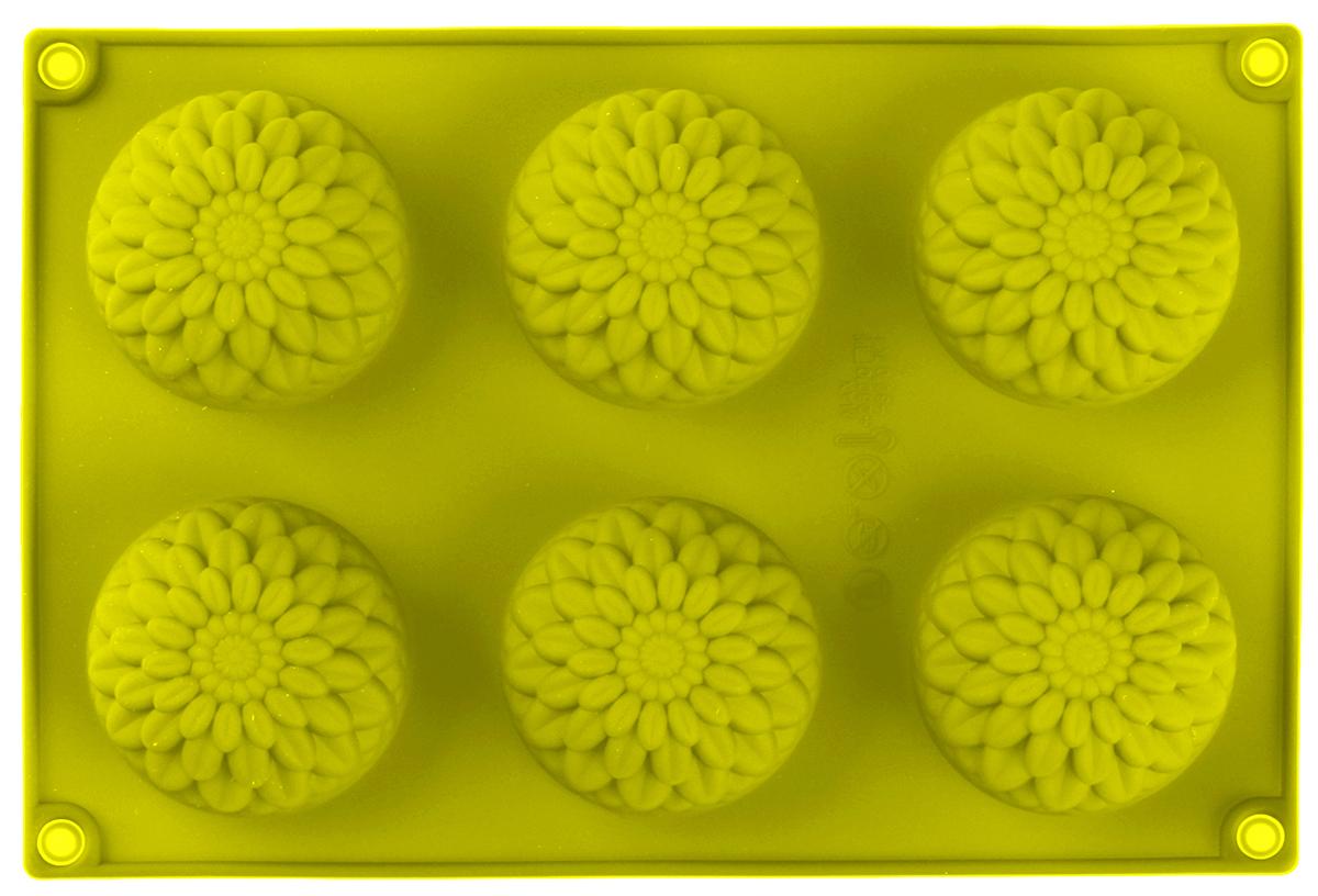 Форма для выпечки Доляна Герберы, цвет: желтый, 28 х 17 х 3 см, 6 ячеек549324_желтый_желтыйФорма для выпечки из силикона — современное решение для практичных и радушных хозяек. Оригинальный предмет позволяет готовить в духовке любимые блюда из мяса, рыбы, птицы и овощей, а также вкуснейшую выпечку.Почему это изделие должно быть на кухне?блюдо сохраняет нужную форму и легко отделяется от стенок после приготовления;высокая термостойкость (от –40 до 230 ?) позволяет применять форму в духовых шкафах и морозильных камерах;небольшая масса делает эксплуатацию предмета простой даже для хрупкой женщины;силикон пригоден для посудомоечных машин;высокопрочный материал делает форму долговечным инструментом;при хранении предмет занимает мало места.Советы по использованию формыПеред первым применением промойте предмет тёплой водой.В процессе приготовления используйте кухонный инструмент из дерева, пластика или силикона.Перед извлечением блюда из силиконовой формы дайте ему немного остыть, осторожно отогните края предмета.Готовьте с удовольствием!