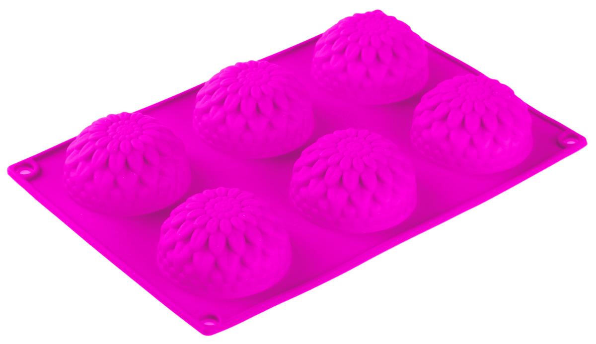 Форма для выпечки Доляна Герберы, цвет: розовый, 28 х 17 х 3 см, 6 ячеек549324_розовый_розовыйФорма для выпечки из силикона — современное решение для практичных и радушных хозяек. Оригинальный предмет позволяет готовить в духовке любимые блюда из мяса, рыбы, птицы и овощей, а также вкуснейшую выпечку.Почему это изделие должно быть на кухне?блюдо сохраняет нужную форму и легко отделяется от стенок после приготовления;высокая термостойкость (от –40 до 230 ?) позволяет применять форму в духовых шкафах и морозильных камерах;небольшая масса делает эксплуатацию предмета простой даже для хрупкой женщины;силикон пригоден для посудомоечных машин;высокопрочный материал делает форму долговечным инструментом;при хранении предмет занимает мало места.Советы по использованию формыПеред первым применением промойте предмет тёплой водой.В процессе приготовления используйте кухонный инструмент из дерева, пластика или силикона.Перед извлечением блюда из силиконовой формы дайте ему немного остыть, осторожно отогните края предмета.Готовьте с удовольствием!