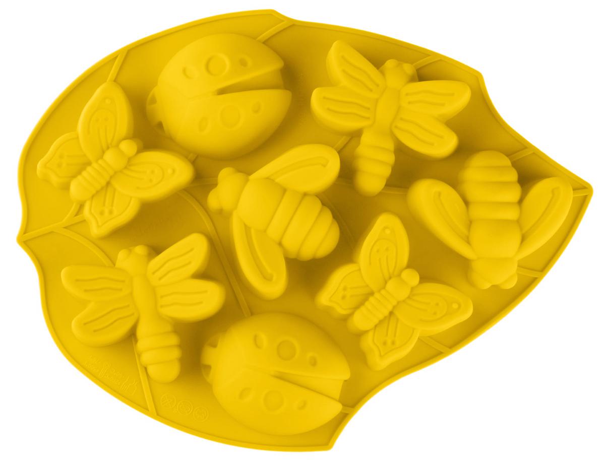 Форма для выпечки Доляна Жучки, 27 х 21 х 2,5 см, цвет: оранжевый, 8 ячеек628970_оранжевыйФорма для выпечки из силикона - современное решение для практичных и радушных хозяек. Оригинальный предмет позволяет готовить в духовке любимые блюда из мяса, рыбы, птицы и овощей, а также вкуснейшую выпечку.Почему это изделие должно быть на кухне?блюдо сохраняет нужную форму и легко отделяется от стенок после приготовления;высокая термостойкость (от -40 до 230 ?) позволяет применять форму в духовых шкафах и морозильных камерах;небольшая масса делает эксплуатацию предмета простой даже для хрупкой женщины;силикон пригоден для посудомоечных машин;высокопрочный материал делает форму долговечным инструментом;при хранении предмет занимает мало места.Советы по использованию формыПеред первым применением промойте предмет теплой водой.В процессе приготовления используйте кухонный инструмент из дерева, пластика или силикона.Перед извлечением блюда из силиконовой формы дайте ему немного остыть, осторожно отогните края предмета.Готовьте с удовольствием!