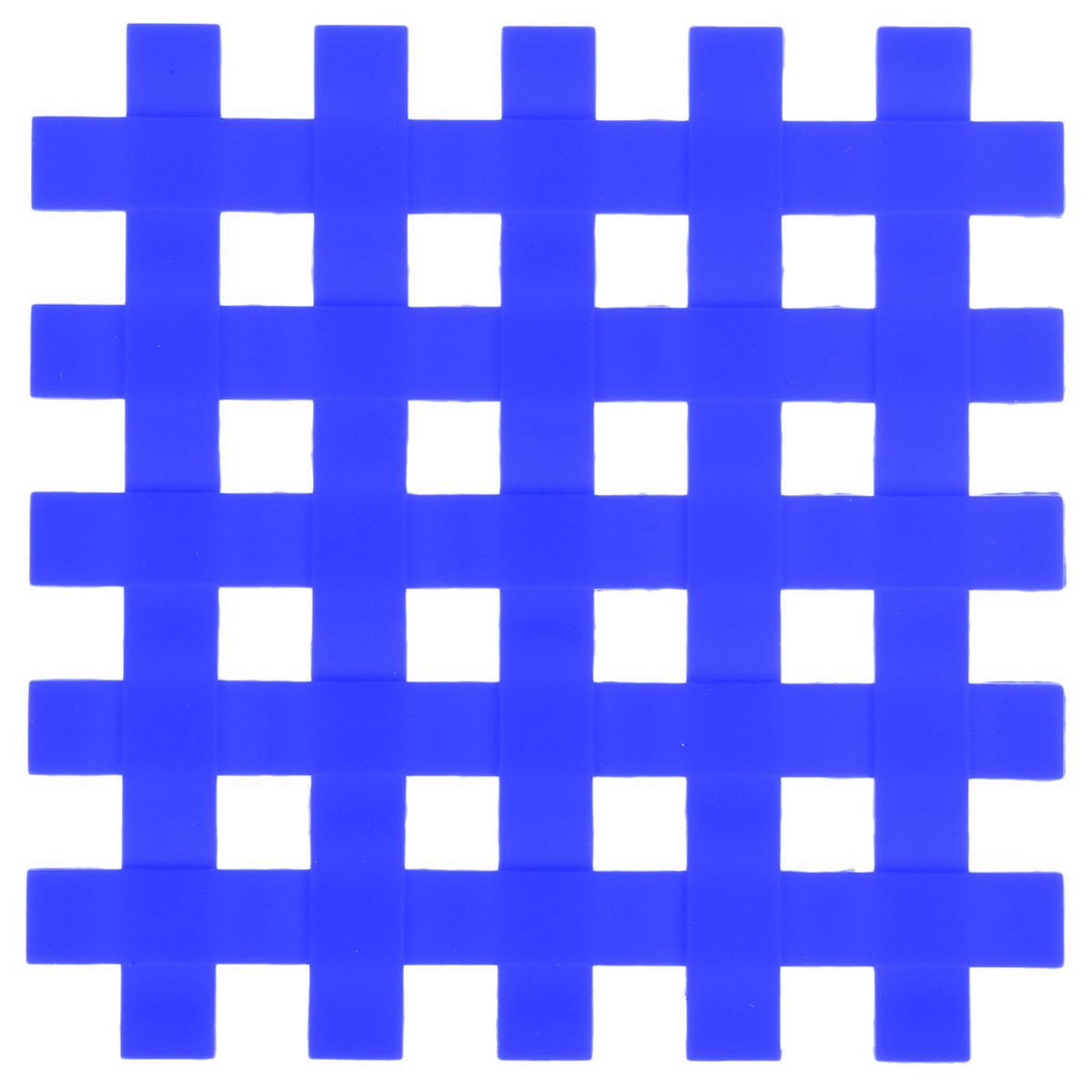 Подставка под горячее Доляна Клетка, цвет: синий, 17 x 17 см811893_синийСиликоновая подставка под горячее — практичный предмет, который обязательно пригодится в хозяйстве. Изделие поможет сберечь столы, тумбы, скатерти и клеёнки от повреждения нагретыми сковородами, кастрюлями, чайниками и тарелками.