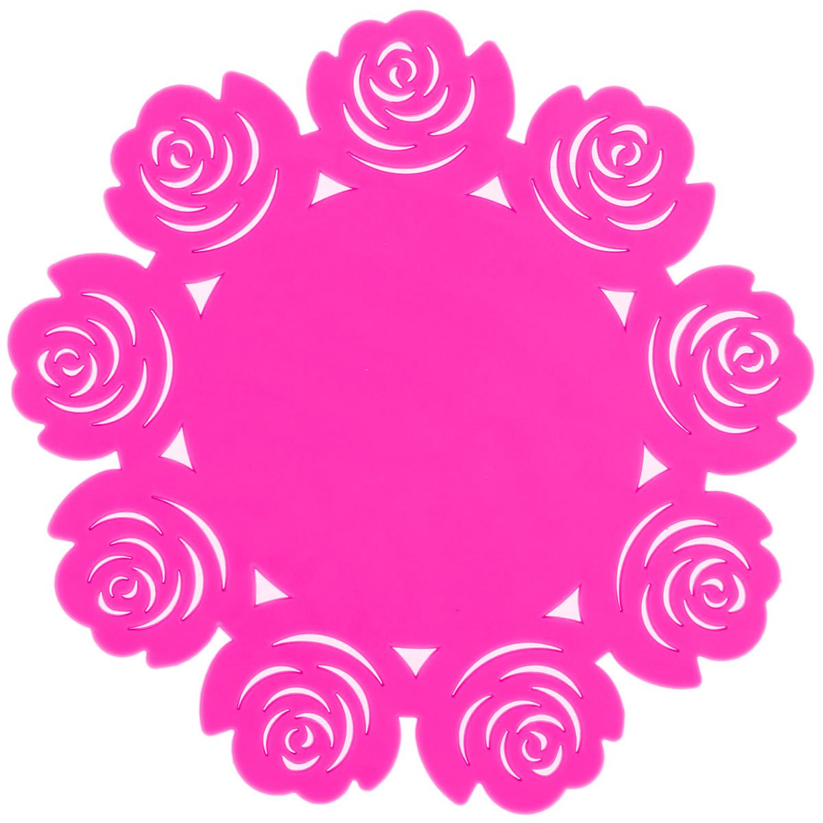 Подставка под горячее Доляна Летний домик, цвет: розовый, диаметр 16 см812069_розовыйСиликоновая подставка под горячее Доляна - практичный предмет, который обязательно пригодится в хозяйстве. Изделие поможет сберечь столы, тумбы, скатерти и клеёнки от повреждения нагретыми сковородами, кастрюлями, чайниками и тарелками.