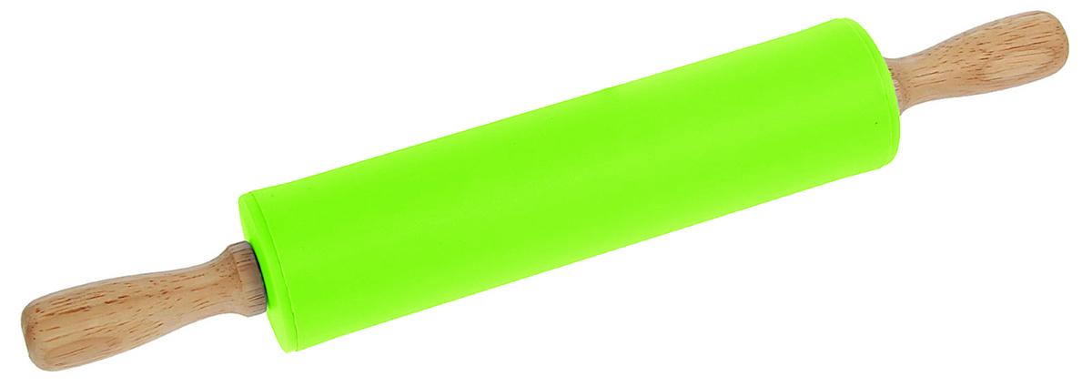 Скалка Доляна Валенсия , цвет: салатовый, 30 х 4 см851318_салатовыйСкалка — необходимый на кухне предмет. Изделие из силикона представляет собой усовершенствованную версию привычного инструмента. Яркий дизайн делает предмет украшением арсенала каждого повара. Готовку облегчают удобные ручки.