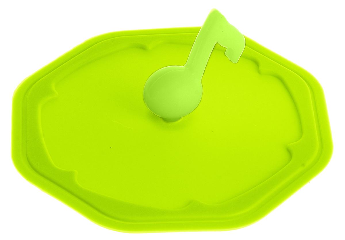 Крышка Доляна Нота, цвет: салатовый, 10 см861109_салатовыйКрышка станет незаменимым помощником любой современной хозяйки! Она выполнена из безопасного пищевого силикона, устойчивого к температурам от -40 до +250 градусов. Изделие не впитывает посторонние запахи, удобно в транспортировке и хранении. Яркие света и необычная форма ручки привлекут внимание любого посетителя вашей кухни, а вам поможет не потерять крышку среди остальной посуды.