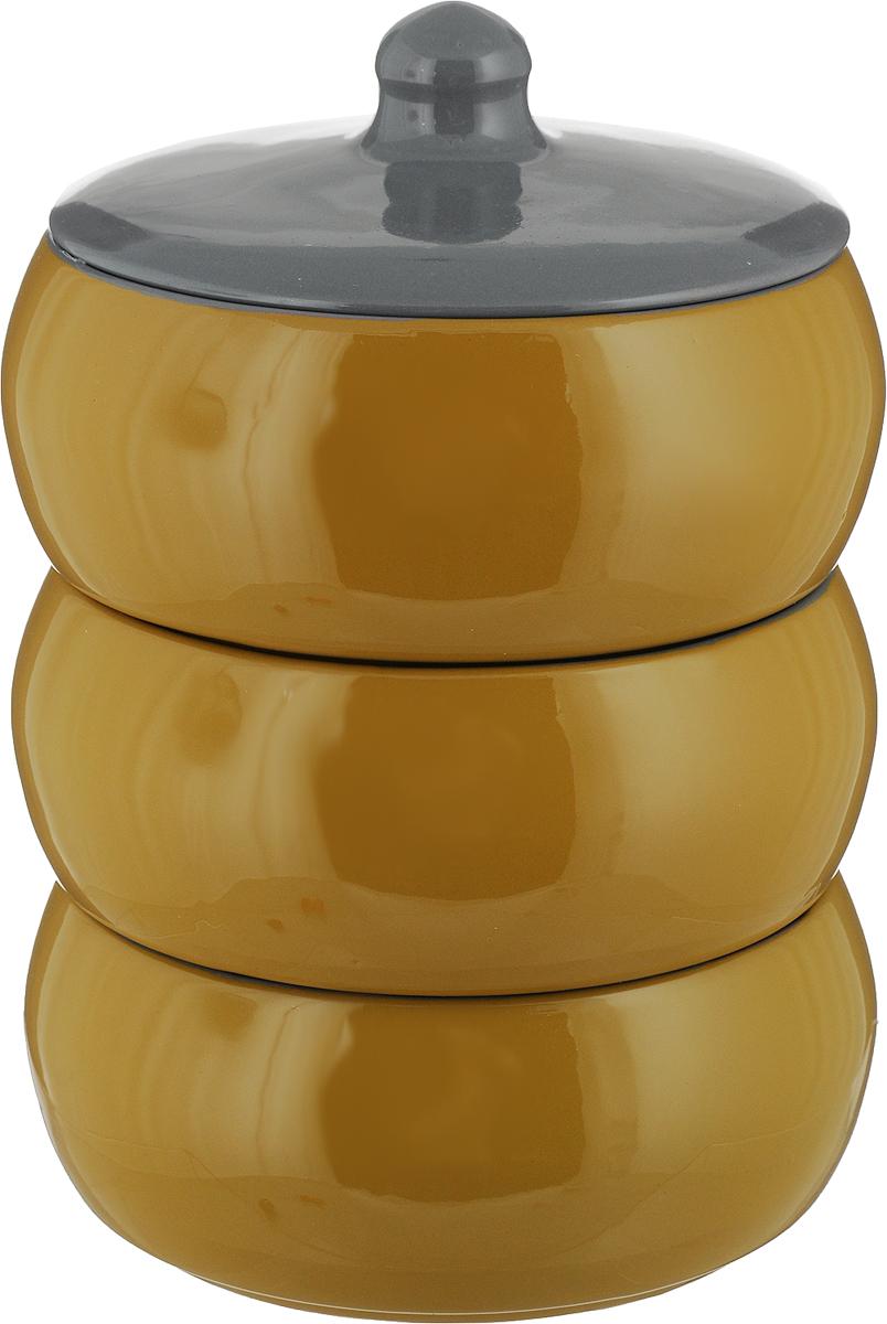 """Набор столовой посуды Борисовская керамика """"Русский"""" состоит из трех мисок и крышки. Изделия выполнены из  высококачественной глазурованной керамики.  Внутреннее и внешнее покрытие изделий изготовлено из  экологически чистых природных материалов.  Такой набор станет отличным подарком и обязательно  пригодится в любом хозяйстве."""