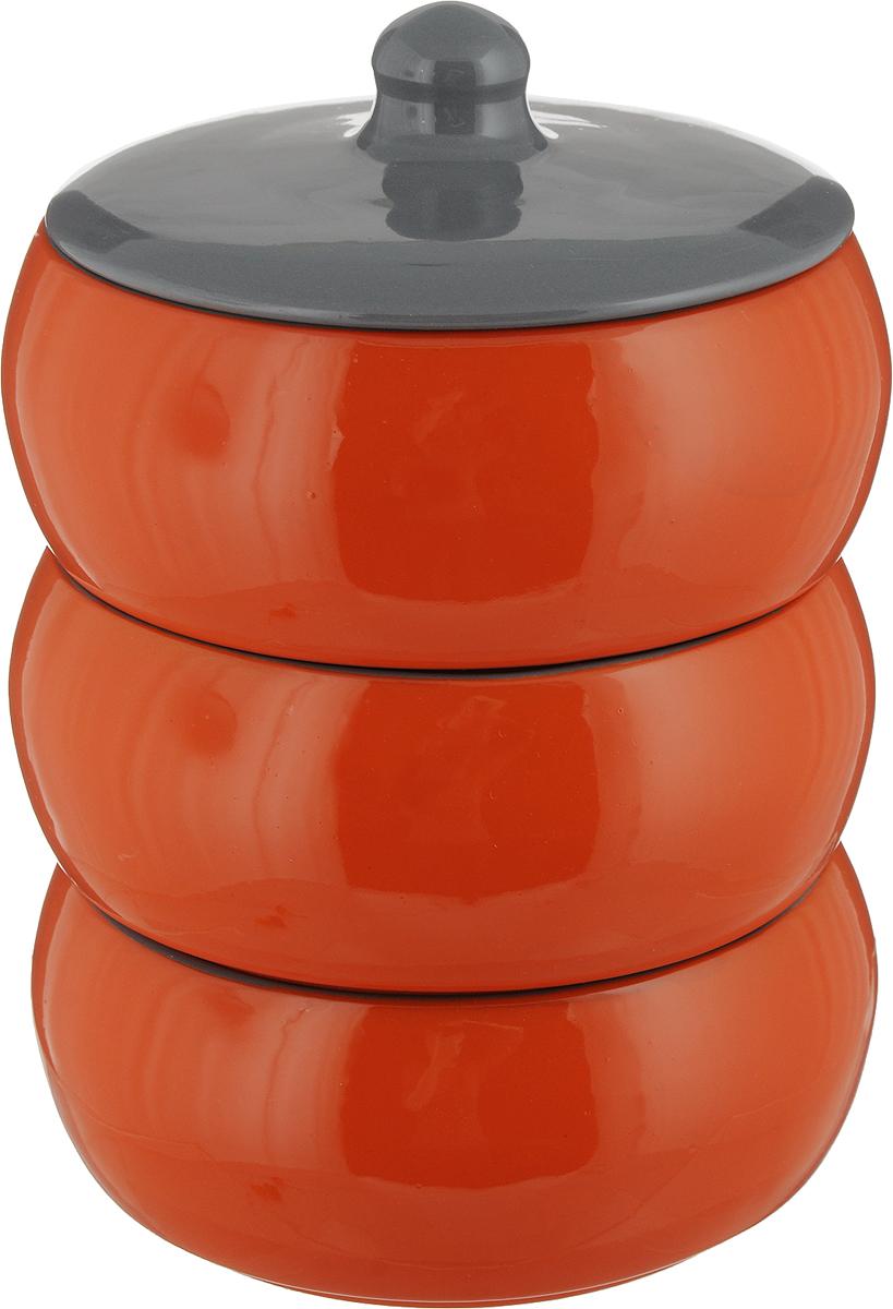 Набор столовой посуды Борисовская керамика Русский, цвет: оранжевый, серый, 4 предмета, 2,7 лРАД14456972_оранжевыйНабор столовой посуды Борисовская керамика Русский состоит из трех мисок и крышки. Изделия выполнены извысококачественной глазурованной керамики.Внутреннее и внешнее покрытие изделий изготовлено изэкологически чистых природных материалов.Такой набор станет отличным подарком и обязательнопригодится в любом хозяйстве.