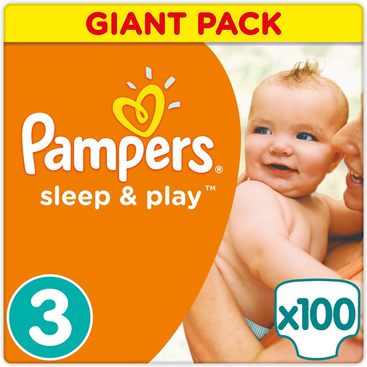 Pampers Подгузники Sleep & Play 5-9 кг (размер 3) 100 шт - Подгузники и пеленки