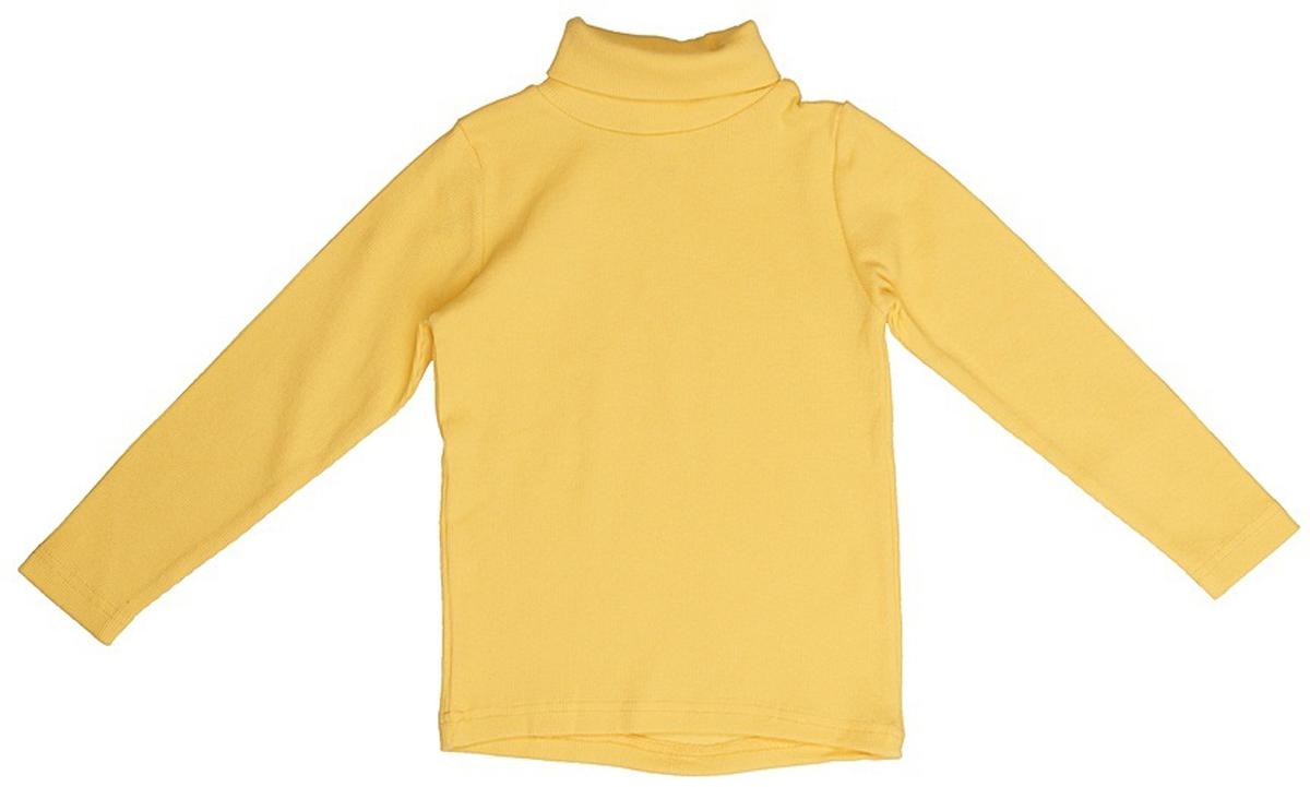 Водолазка для девочки JimJim, цвет: желтый. DP115. Размер 128DP115Великолепная детская водолазка JimJim идеально подойдет вашему ребенку. Изготовленная из натурального хлопка с добавлением эластана, она необычайно мягкая и приятная на ощупь, не сковывает движения малыша и позволяет коже дышать, не раздражает даже самую нежную и чувствительную кожу ребенка, обеспечивая ему наибольший комфорт. Водолазка классического кроя с длинными рукавами и воротником-гольф. Оригинальный современный дизайн и модная расцветка делают эту водолазку модным и стильным предметом детского гардероба.