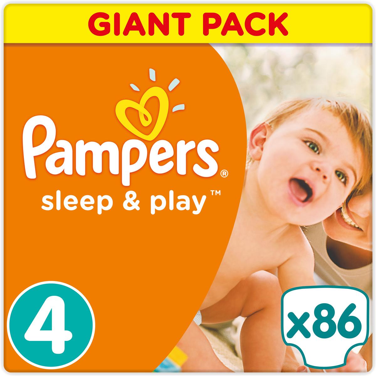 Pampers Sleep & Play Подгузники 4, 8-14 кг, 86 шт - Подгузники и пеленки