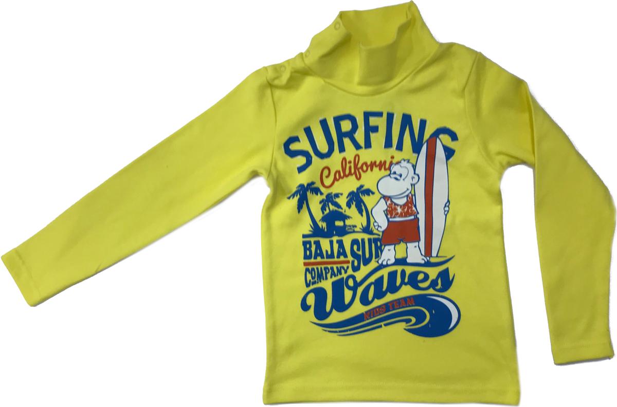 Водолазка для мальчика Arge Fashion, цвет: желтый. MRM-15B-42 7003-1. Размер 116MRM-15B-42 7003-1Водолазка для мальчика Arge Fashion выполнена из 100% хлопка. Модель с воротником-гольф и длинными рукавами на груди оформлена ярким принтом.