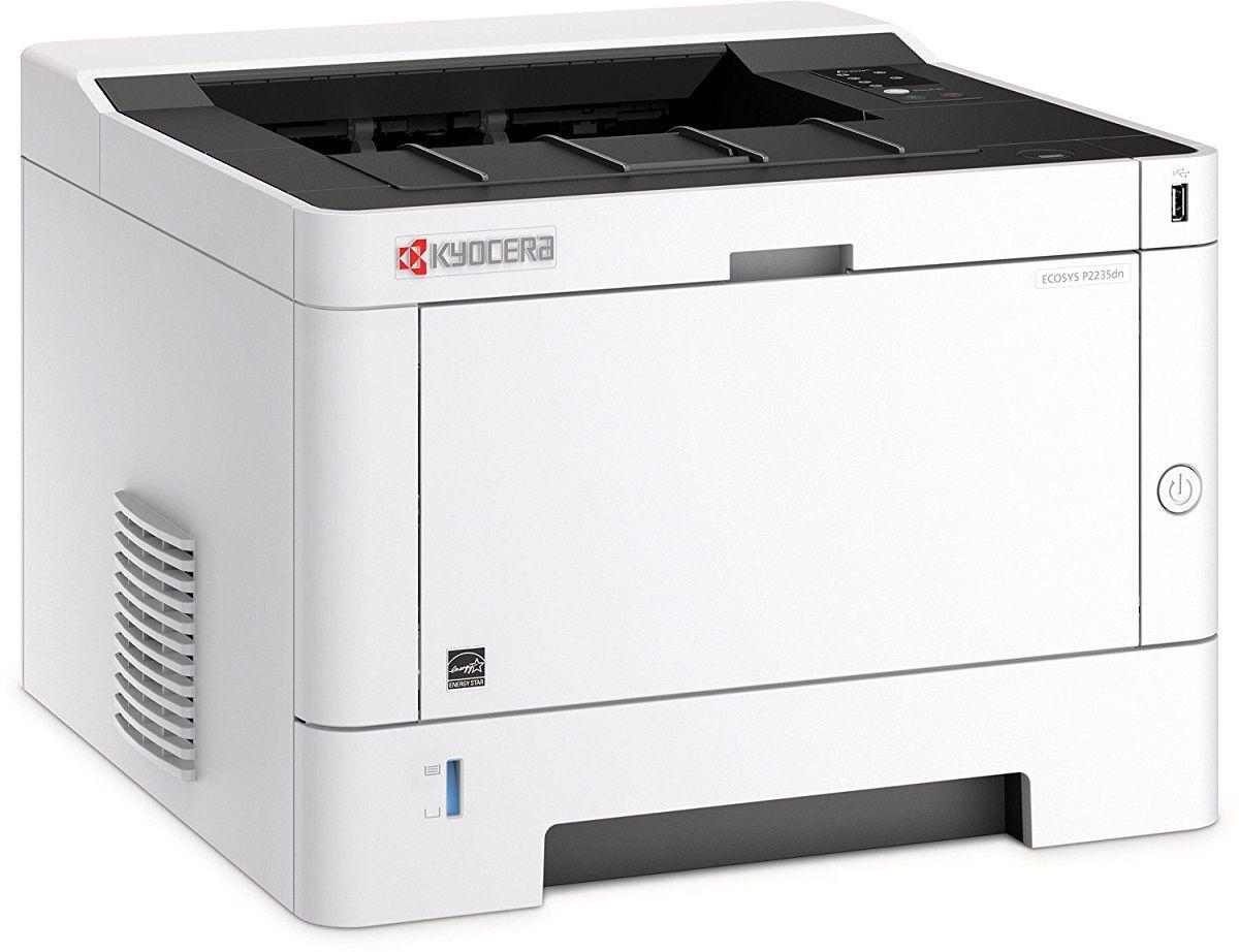 Kyocera Ecosys P2235dn лазерный принтерP2235dnЗа стильным дизайном корпуса Kyocera Ecosys P2235dn скрываются: скорость печати до 35 страниц в минуту, функционал двусторонней печати в стандартной комплектации и объем подачи бумаги до 850 листов.Как и все устройства Kyocera, эти принтеры созданы из долговечных компонентов, отличаются образцовой надежностью и минимальной общей стоимостью владения. Но это еще не всё: качество печати с разрешением 1 200 точек на дюйм позволяет получить четкие и яркие изображения, недосягаемые для аналогов на рынке. Струйный или лазерный принтер: какой лучше? Статья OZON Гид