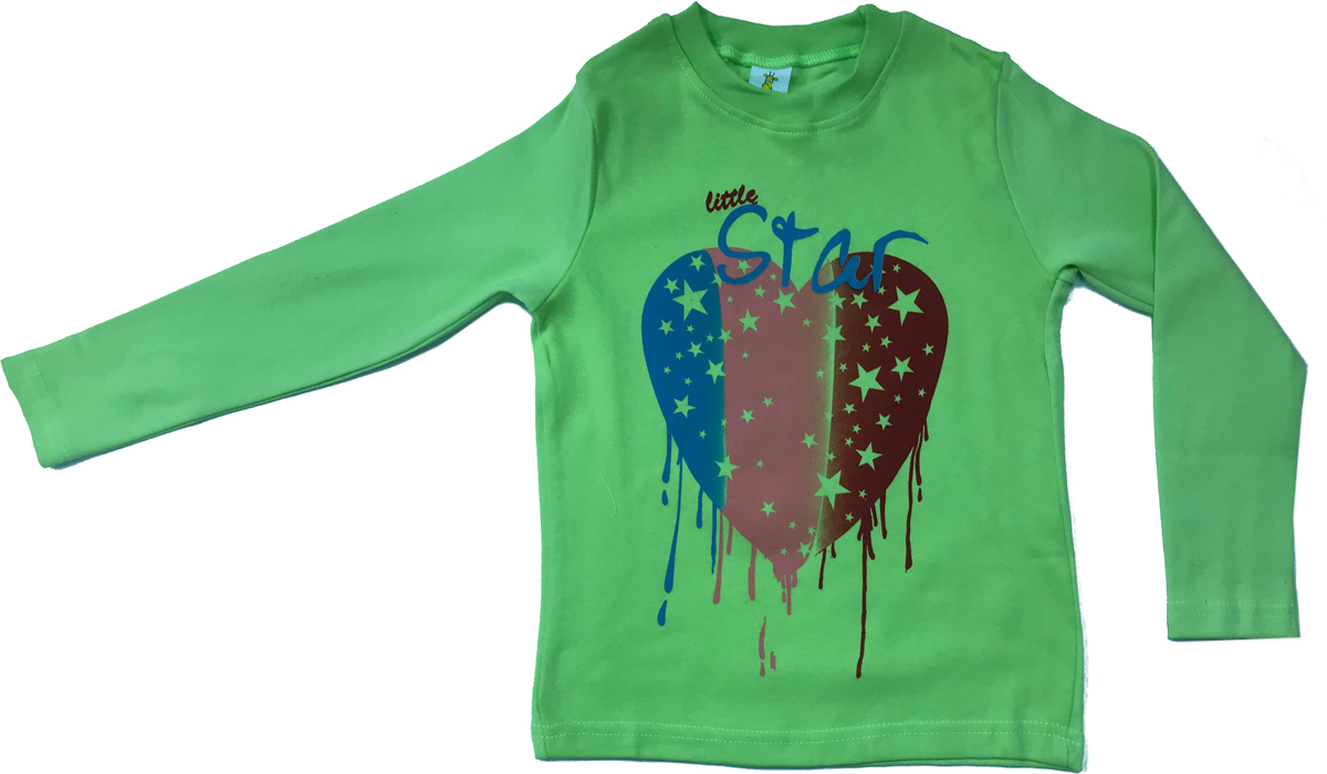 Футболка с длинным рукавом для девочки Arge Fashion, цвет: светло-зеленый. MRM-15B-42-7. Размер 86 6colors fashion 100