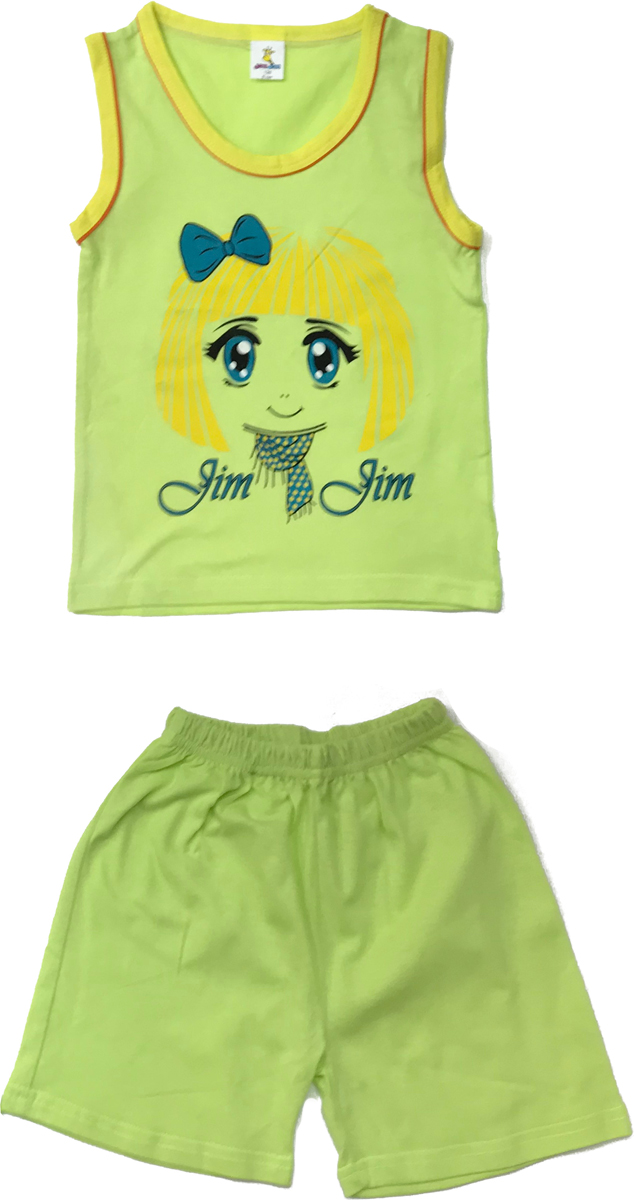 Комплект одежды для девочки Arge Fashion: майка, шорты, цвет: зеленый. SIP 16-1. Размер 110SIP 16-1Комплект для девочки Arge Fashion, состоящий из майки и шорт, выполнен из натурального хлопка. Материал необычайно мягкий и приятный на ощупь, не сковывает движения и позволяет коже дышать. Майка с круглым вырезом горловины и спереди оформлена принтовым рисунком. Шорты на талии дополнены эластичной резинкой. В таком комплекте ваша девочка будет чувствовать себя комфортно и уютно.