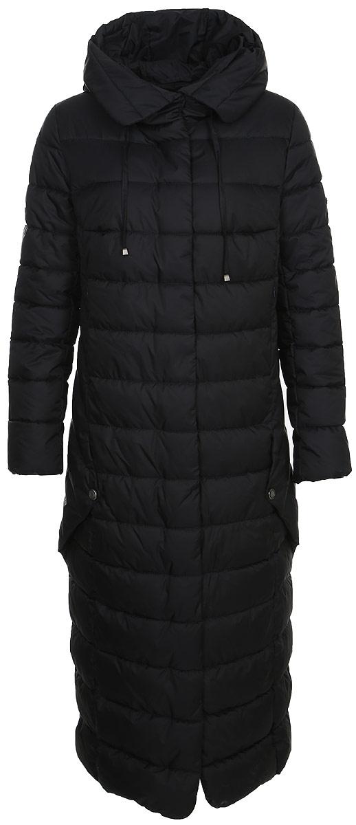 Пальто женское Grishko, цвет: темно-синий. AL-3299. Размер 46AL-3299Ультрамодное пальто от Grishko прямого кроя с оригинальными деталями по бокам, застегивается на молнию и кнопки, карманы прорезные, капюшон не отстегивается.