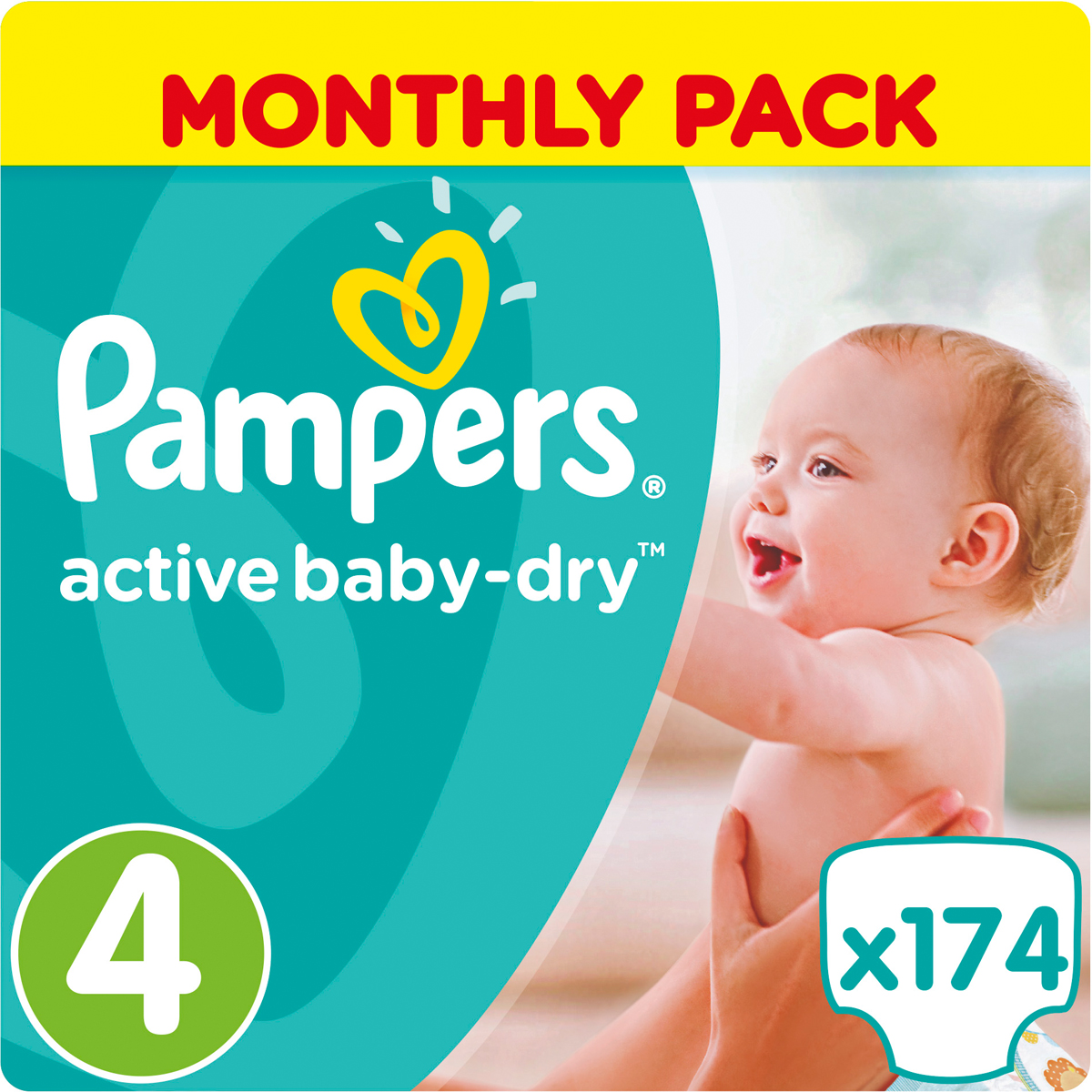 Pampers Подгузники Active Baby-Dry 8-14 кг Maxi 174 шт подгузники pampers active baby dry размер 4 7 14 кг 132 шт