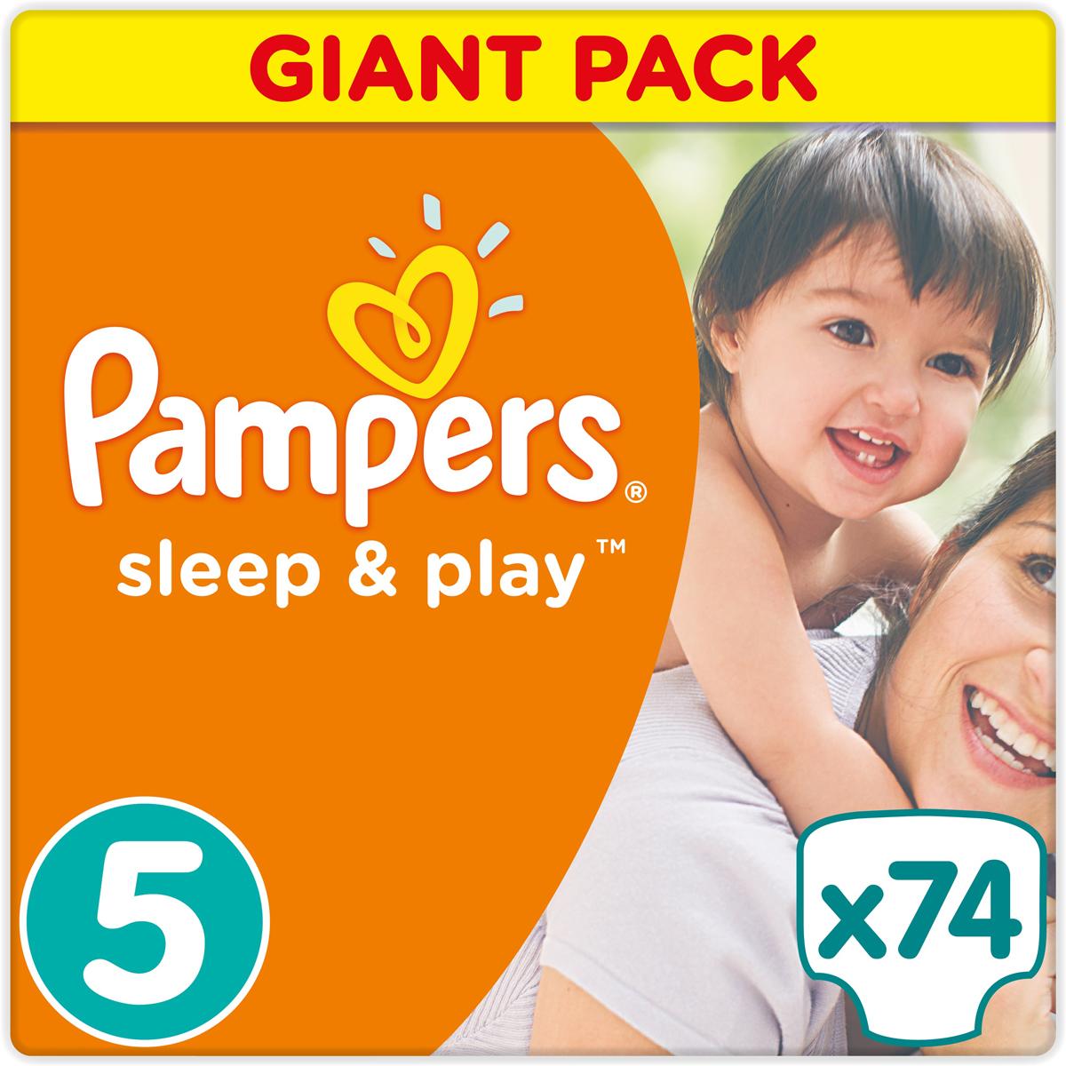 Pampers Подгузники Sleep & Play 11-18 кг (размер 5) 74 шт - Подгузники и пеленки