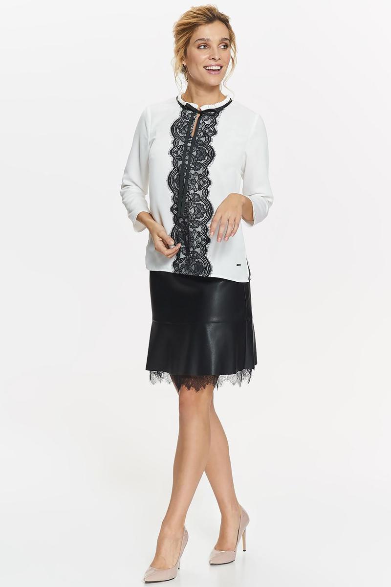 Блузка женская Top Secret, цвет: белый. SBD0765BI. Размер 40 (48)SBD0765BIБлузка женская Top Secret выполнена из полиэстера. Модель с круглым вырезом горловины и длинными рукавами.