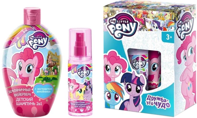 My Little Pony Набор детской косметики для ухода Дружба - это чудо 3838038380Нежный шампунь бережно очищает и распутывает волосики, питает и увлажняет, защищает от вредного воздействия окружающей среды. Спрей-кондиционер с протеинами шелка питает и увлажняет волосы любого типа, облегчает расчесывание, предотвращает спутывание, придает им блеск и легкий фруктовый аромат. Устраняет статический эффект при расчесывании. Может применяться так часто, как это необходимо.