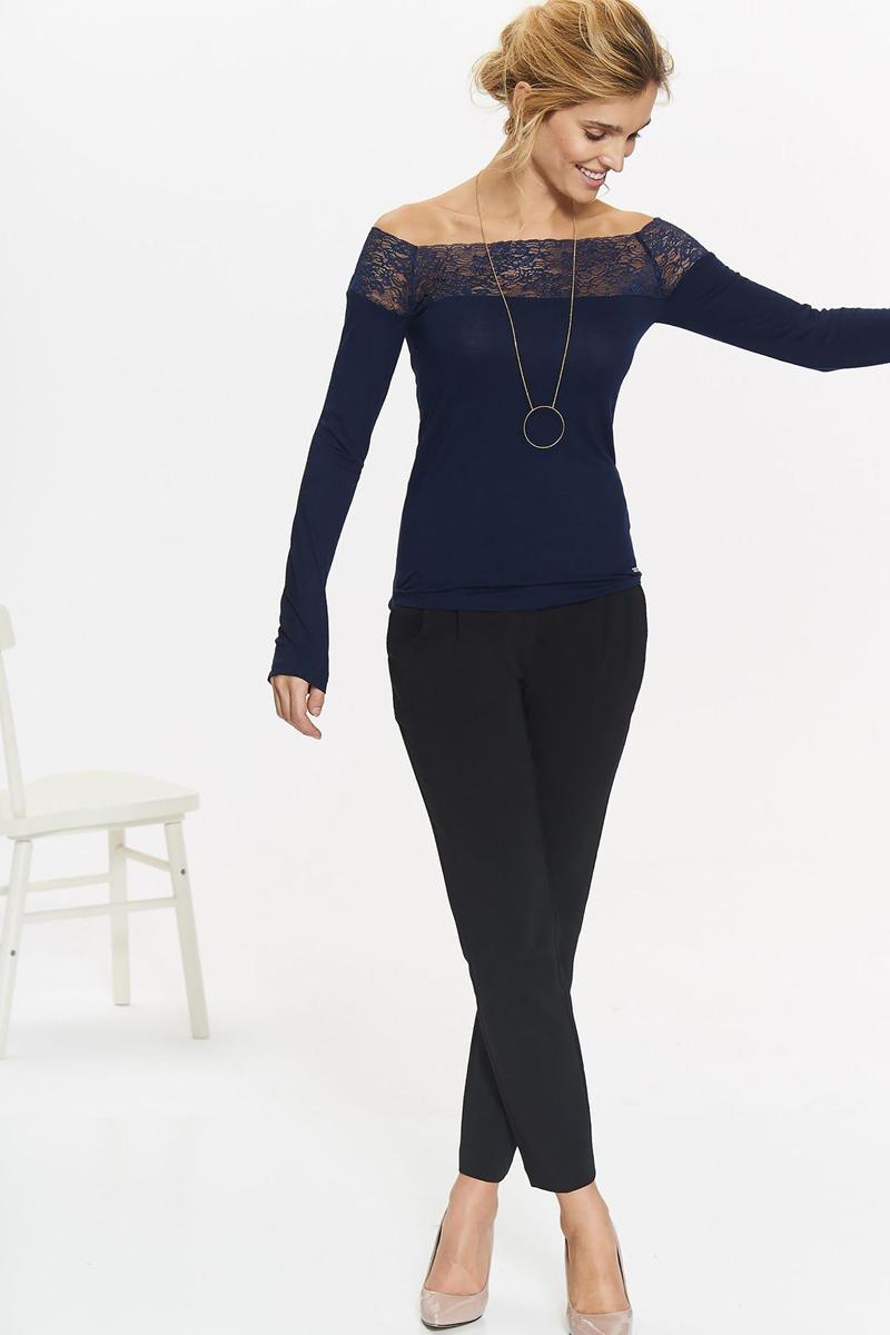 Блузка женская Top Secret, цвет: темно-синий. SBD0778GR. Размер 38 (46)SBD0778GRБлузка женская Top Secret выполнена из вискозы и полиэстера. Модель с длинными рукавами дополнена кружевными вставками.