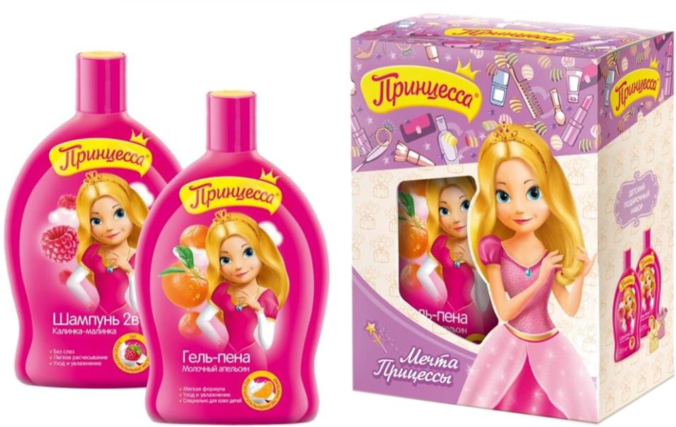 Принцесса Набор детской косметики для ухода Мечта принцессы 3839738397Особая формула с кондиционером, экстрактами молока и малины бережноочищает локоны вашей принцессы. Экстракт малины укрепляет волосы отсамых корней, насыщает их витаминами и микроэлементами, а экстрактмолока смягчает и успокаивает чувствительную кожу головы. Мягкий гель длядуша делает кожу гладкой и бархатистой, а яркий аромат создает солнечноенастроение. Экстракты апельсина и молока бережно очищают и увлажняюткожу, даруя свежесть и нежность.Товар сертифицирован.