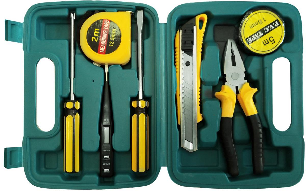 Набор инструментов Kroft, 8 предметов203061В состав набора входят: Плоскогубцы 6 Отвёртки 6*100 (+/-) - 2 шт. Отвёртка-тестер с ЖК-дисплеем Строительный нож (18 мм) Рулетка (2 м*12,5 мм) Изолента (5 м*18 мм) Кейс