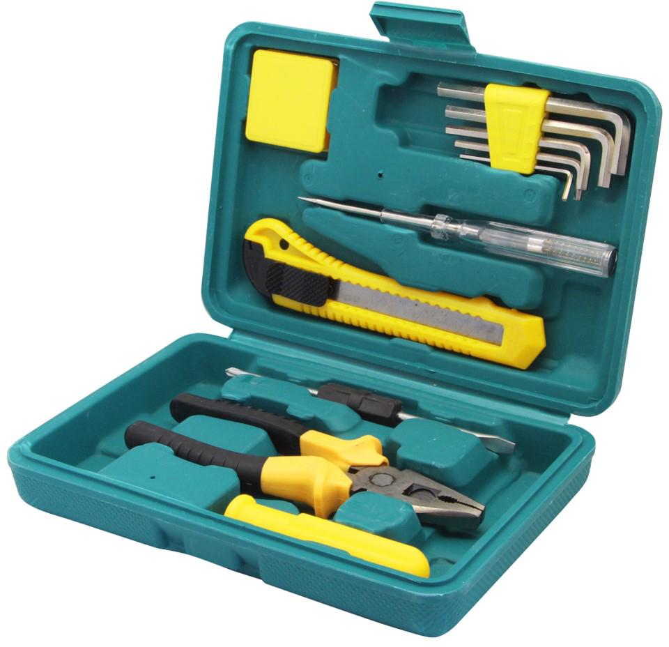 Набор инструментов mini Kroft, 12 предметов203062В состав набора входят: Плоскогубцы (6) Шестигранные ключи (2-6мм) - 5 шт. Двусторонняя отвертка (+/-) Ручка для отвёртки Отвёртка-тестер Канцелярский нож (18 мм) Рулетка (1 м) Кейс