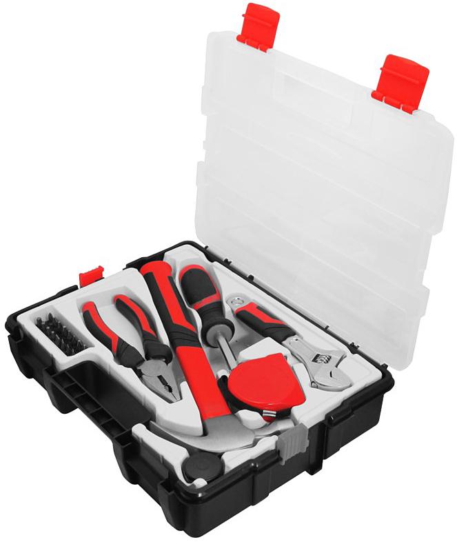 Набор инструментов Vira Master, 22 предмета305086Набор инструментов Vira Master используется для удержания деталей, обслуживания резьбовых элементов, забивания гвоздей или проведения измерений. Биты выполнены из хромованадиевой стали. Рабочие части инструментов изготовлены из стали. Набор упакован в пластиковый футляр, который обеспечивает удобство и компактность хранения.В набор входят: Молоток-гвоздодёр (CS45),Насадка на молоток, Плоскогубцы (160 мм, CS45),Рулетка 3 х 16 мм (MID),Рукоятка для бит (CS),Разводной ключ 150 мм (CS45),Биты (25 мм, CRV) - 16 шт: SL (5 шт): 3, 4, 5, 6, 7 мм, PH (4 шт): PH0, PH1, PH2, PH3, PZ (4 шт): PZ0, PZ1, PZ2, PZ3, TORX (3 шт): T10, T15, T20.