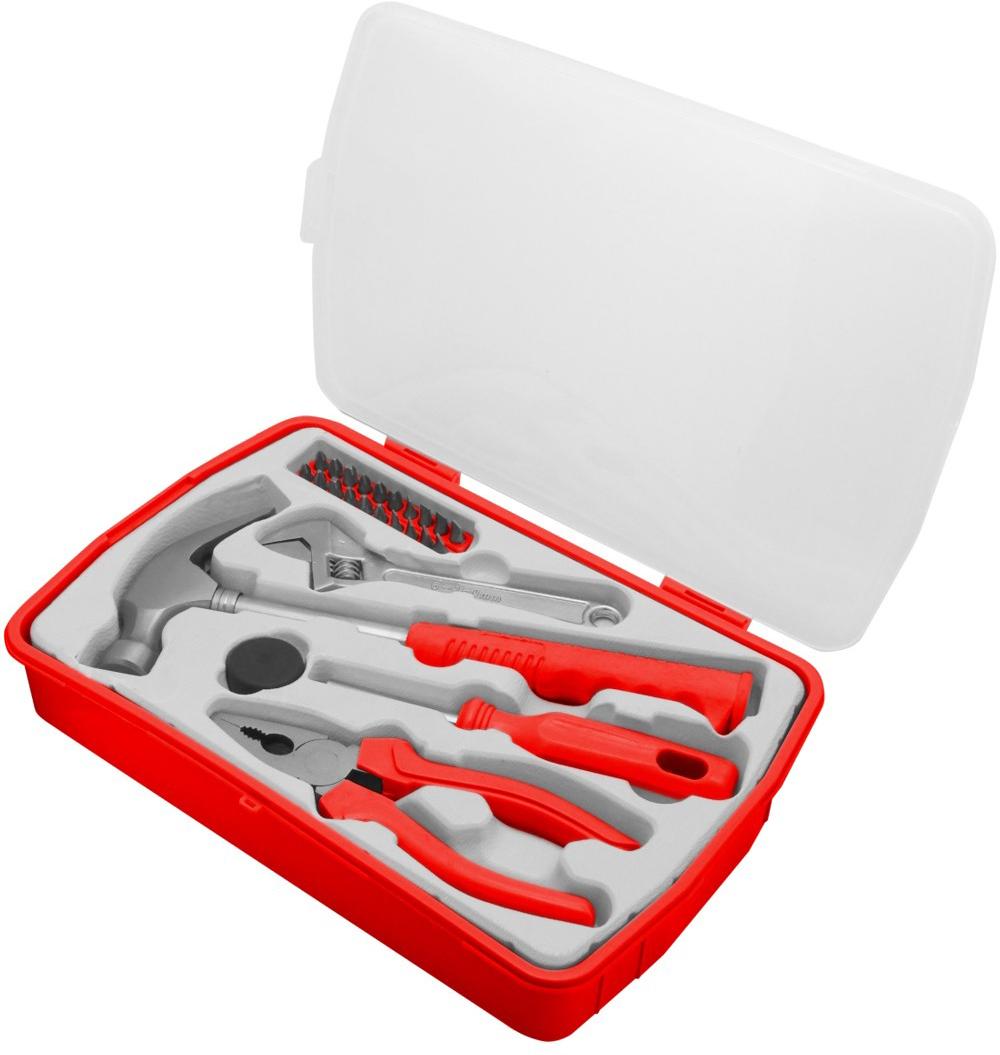 Набор инструментов Vira Handy, 25 предметов305088Набор инструментов Vira Handy предназначен для выполнения различных бытовых работ. Набор имеет в комплекте инструменты для обслуживания резьбовых элементов, удержания изделий или перекусывания кабелей. Биты изготовлены из хромованадиевой стали. Рабочие части инструментов выполнены из прочной стали. Набор упакован в удобный футляр, который выполнен из пластика.В набор входят: Рукоятка для бит (CS),Молоток-гвоздодёр (CS45),Насадка на молоток,Разводной ключ 150 мм (CS45),Плоскогубцы (160 мм, CS45),Биты (CRV) - 20 шт: PH (3 шт): PH1, PH2, PH3, PZ (3 шт): PZ1, PZ2, PZ3, SL (4 шт): 4, 5, 6, 7 мм, HEX (4 шт): 3, 4, 5, 6 мм, TORX (6 шт): T10, T15, T20, T25, T30, T40.