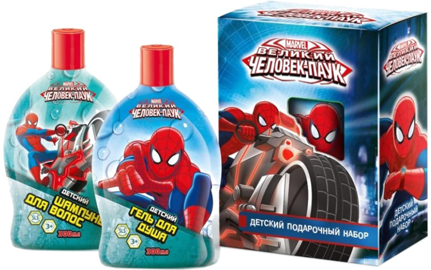 Spiderman Набор детской косметики для ухода Супергерой 3493134931Мягко очищает волосы и одновременно питает их полезными растительными экстрактами и витаминами. Волосы становятся мягкими, шелковистыми, легко расчесываются. Приятный аромат бодрит и придает уверенности.