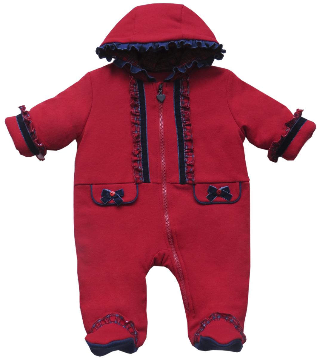 Комбинезон утепленный детский Soni Kids Путешествие в Лондон, цвет: красный. З6102005. Размер 74 комбинезоны soni kids комбинезон путешествие в лондон