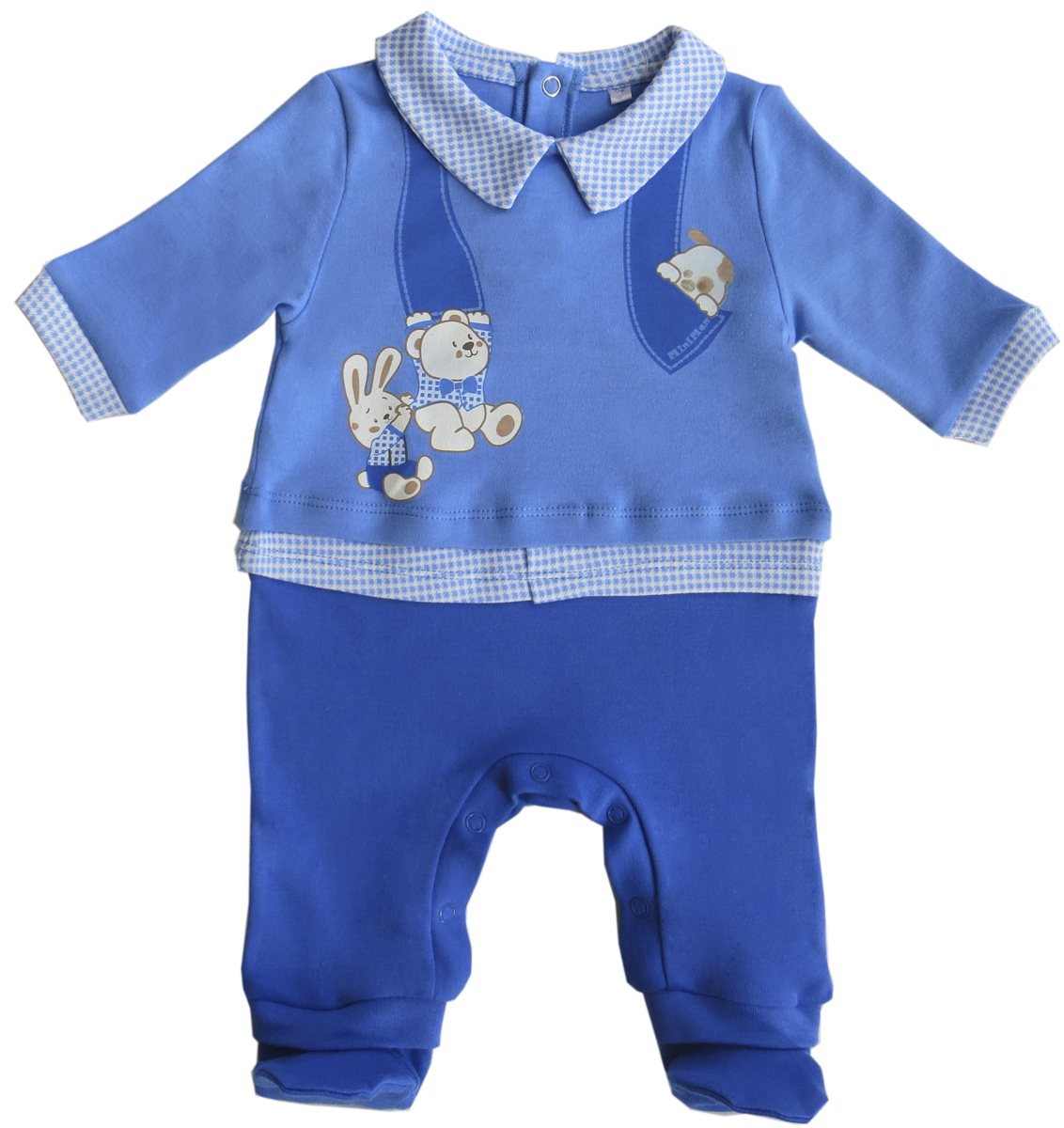Комбинезон домашний для мальчика Soni Kids Мишка джентельмен, цвет: голубой, синий. З6102016. Размер 74 soni kids кофточка