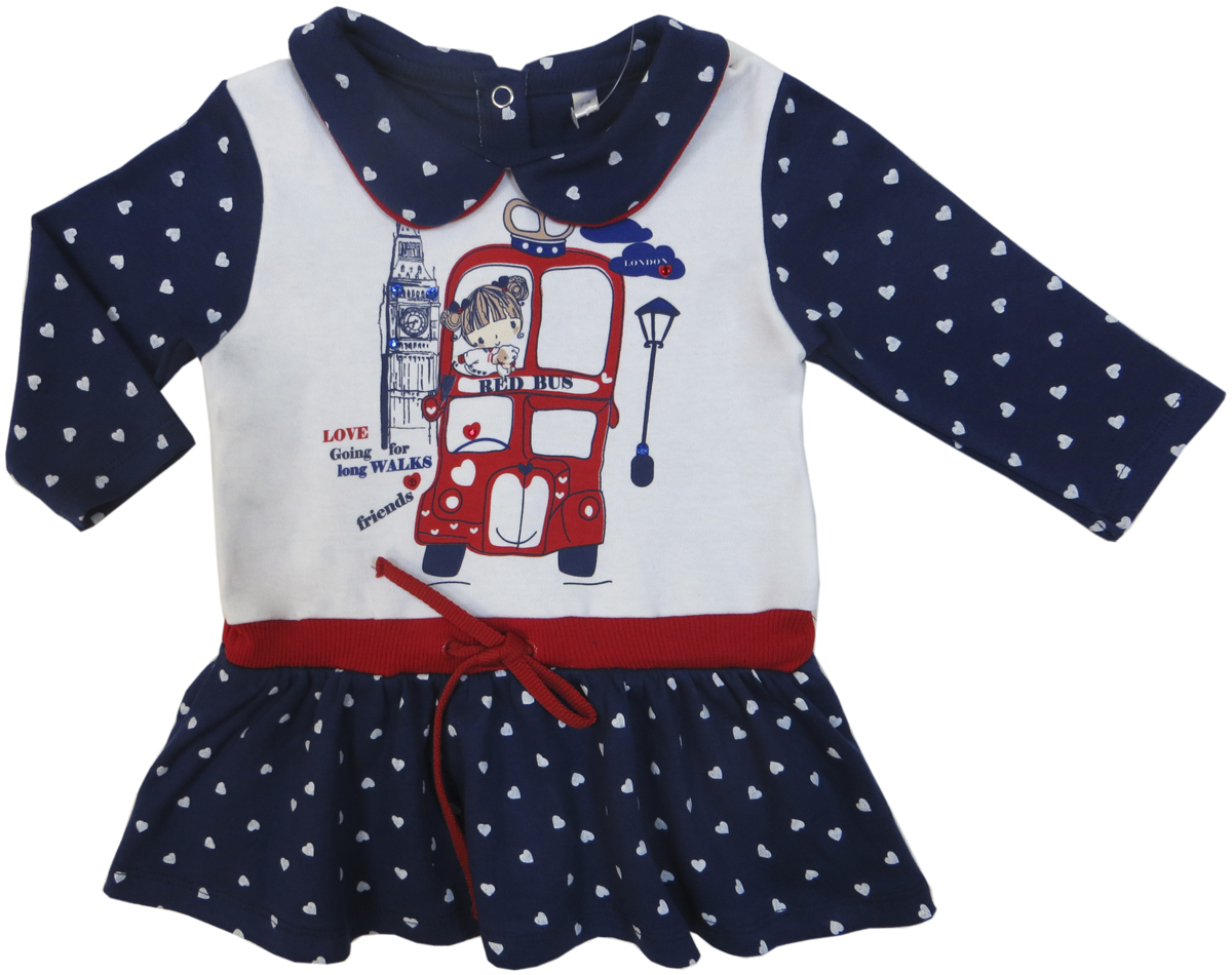 Платье для девочки Soni Kids Путешествие в Лондон, цвет: синий, белый. З6105001. Размер 92З6105001Платье для девочки Soni Kids послужит идеальным дополнением к гардеробу вашей малышки, обеспечивая ей наибольший комфорт. Изготовленное из натурального хлопка, оно необычайно мягкое и легкое, не раздражает нежную кожу ребенка и хорошо вентилируется, а эластичные швы приятны телу ребенка и не препятствуют его движениям. Платье с длинными рукавами и отложным воротничком на спинке застегивается на кнопки. Изделие оформлено оригинальным принтом и на талии дополнено кулиской.